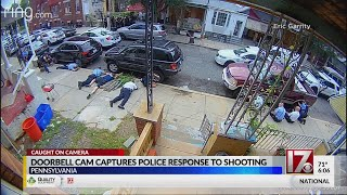 Doorbell camera captures police response to Philly shooting