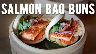Bao buns with Salmon and crispy skin chips