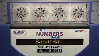 Midday Numbers Game Drawing: Saturday, July 9, 2016