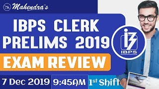 IBPS Clerk Prelims 2019 | Exam Review | Shift 1 | 7.12.2019 | Asked Questions & Expected Cut-Offs