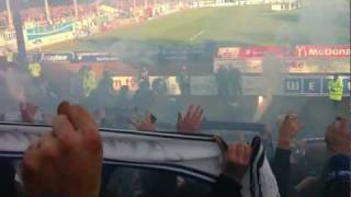 Preußen Münster vs. Arminia Bielefeld 12.11.11 Pyrotechnik Ordner Attacke
