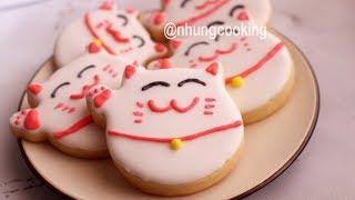BÁNH QUY CHÚ MÈO MAY MẮN / Cookies Maneki Neko Shaped by Nhung Cooking