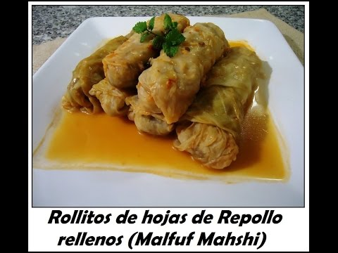 Rollitos de hojas de Repollo rellenos - Malfuf Mahshi - receta español