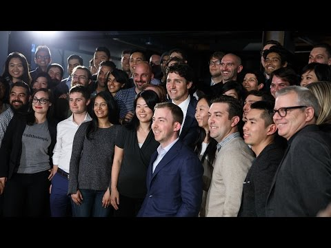 Prime Minister Trudeau delivers remarks at the Wealthsimple offices in Toronto