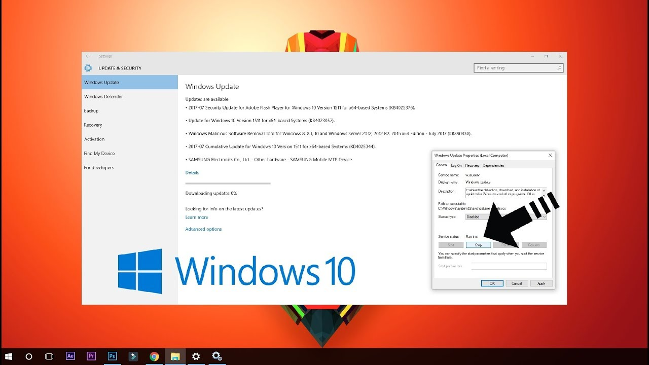 Pause windows 10 updates easily from the command line.