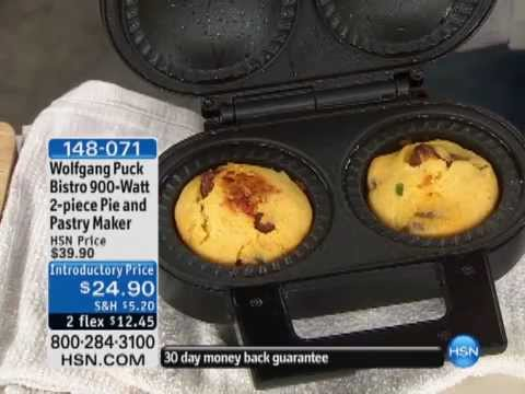 Wolfgang puck 900 watt pie and pastry maker youtube for Wolfgang puck pie maker recipes