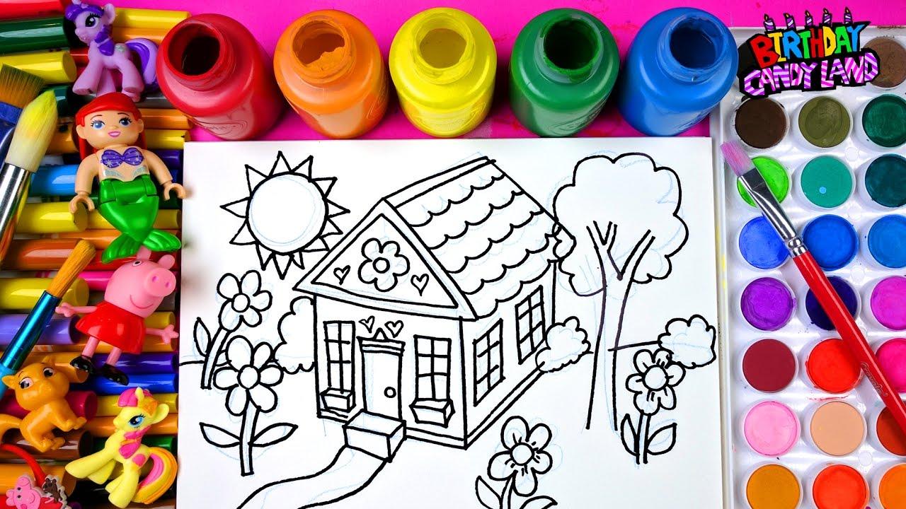 çocuklar Ve çocuklar Için Kalp çiçek Evi Boyama Sayfaları çizimle Ve