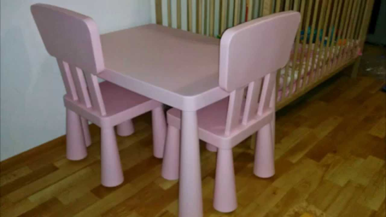 детский столик из Ikea Mammut розовый Youtube