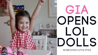 L.O.L. DOLLS OPENING, UNBOXING!  Gia opens her new LOL Dolls!