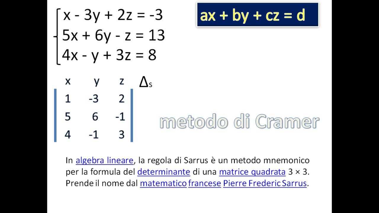 REGOLA DI CRAMER PDF