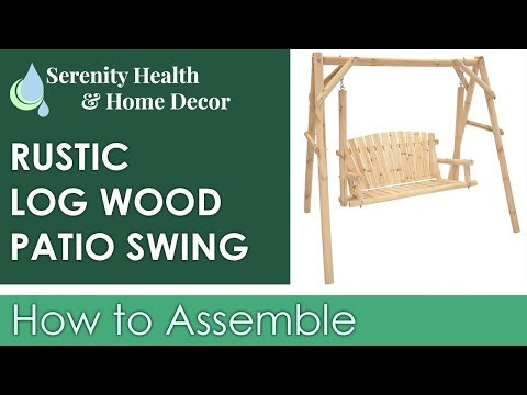 Sunnydaze 2-Person Rustic Log Wood Patio Outdoor Swing and Stand - DSL-681