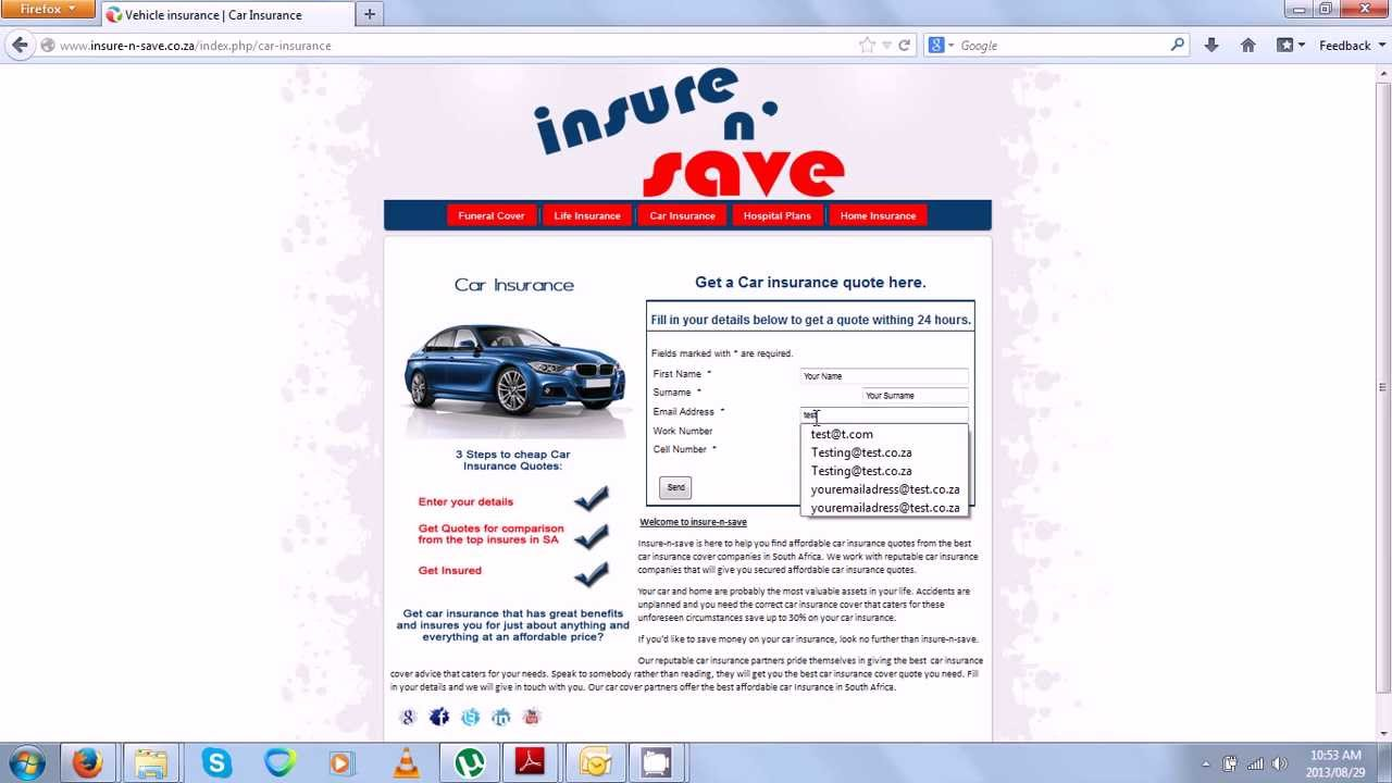 Car Insurance Quote South Africa Youtube