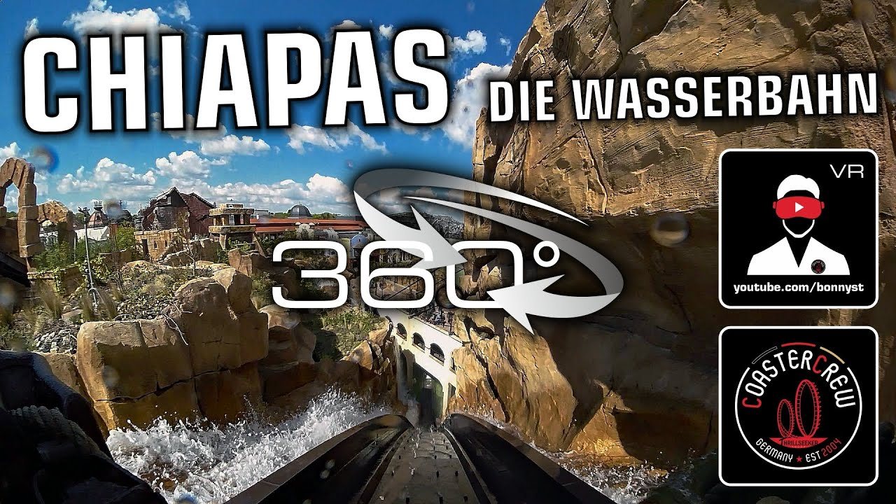 360° Chiapas DIE Wasserbahn Log Flume 360 video on-ride POV Phantasialand Girls Party-Boat