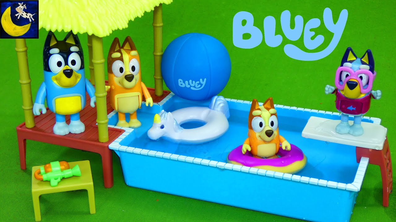 NEW Bluey Pool Time Toys! Water Playset with Bingo Mum and Dad Disney Unboxing Toy Video for Kids