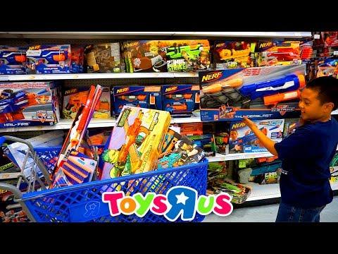 """TOYS""""R""""US SHOPPING FOR NERF GUNS   Jason Buys Over a Dozen Guns To Build His Arsenal"""
