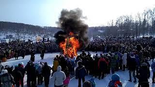 Seeing the winter, carnival in Siberian,проводы зимы,сжигание чучела,поздравление с масленицей