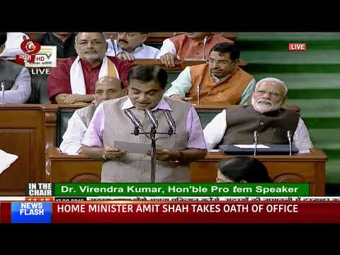 Union Minister and BJP MP Nitin Gadkari takes oath as member of the 17th LS