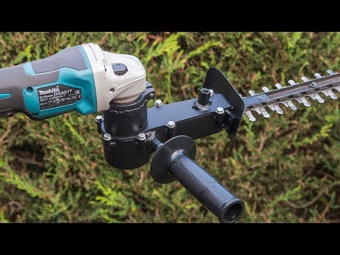 Angle grinder hack homemade hedge trimmer attachment