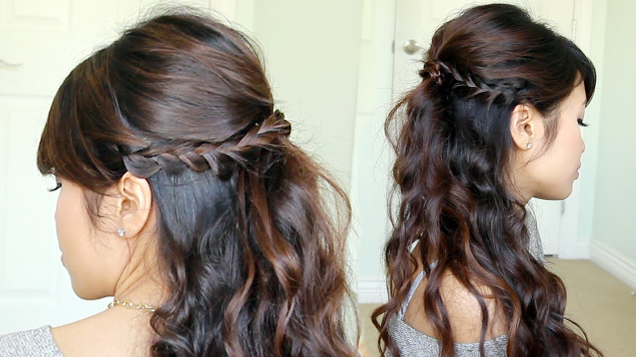 Prom Hairstyle Braided Half Updo Feat Nume Reverse Curling Wand Youtube
