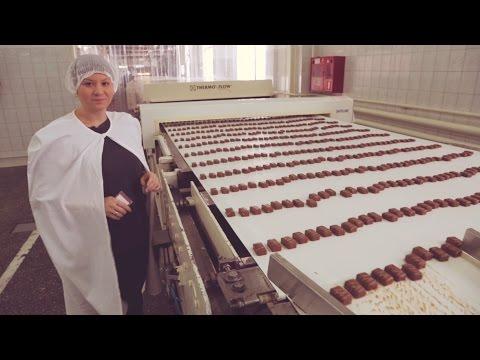 Как делают шоколадные конфеты на фабрике видео