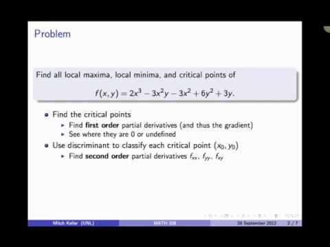 Critical Points Of Functions Of Two Variables