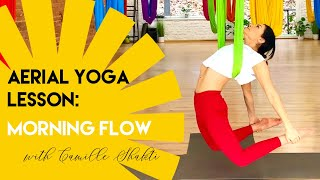 40 min Aerial Yoga Morning Flow Workout | Beginner - Intermediate Class | Oro Joga | CamiyogAIR