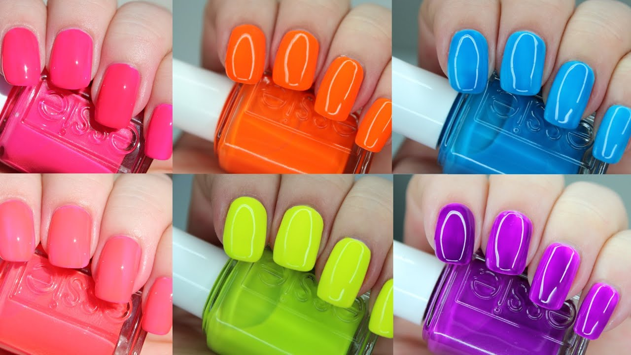 Essie Neons 2016   Live Application Review - YouTube