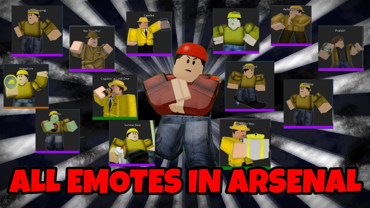all emotes in arsenal roblox youtube