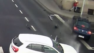 Raw: Lucky Woman Barely Escapes Car Collision