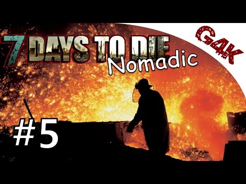 7 Days To Die Nomadic Let's Play | Outdoor Iron Forging at night | Part 5