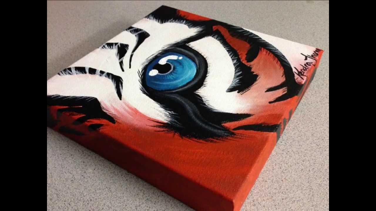 Acrylic painting artwork tiger eye by artist kendra for Easy acrylic animal paintings