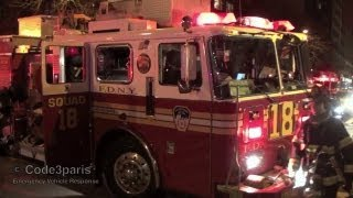 FDNY Engine 34 + Squad 18 + Battalion Chief 8 + Ladder 16 -- Arriving at Fire Scene