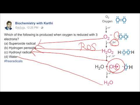 Reduction of oxygen and generation of free radicals