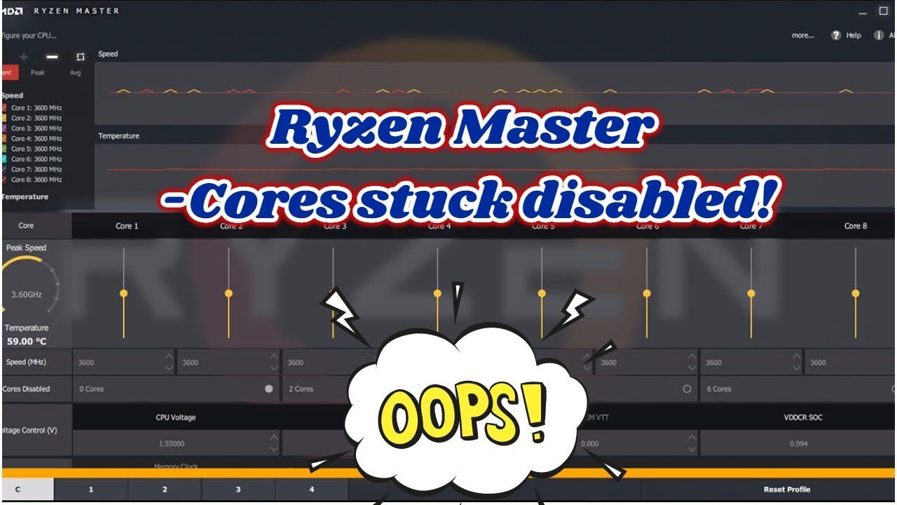 Ryzen Master WARNING my cores are stuck disabled