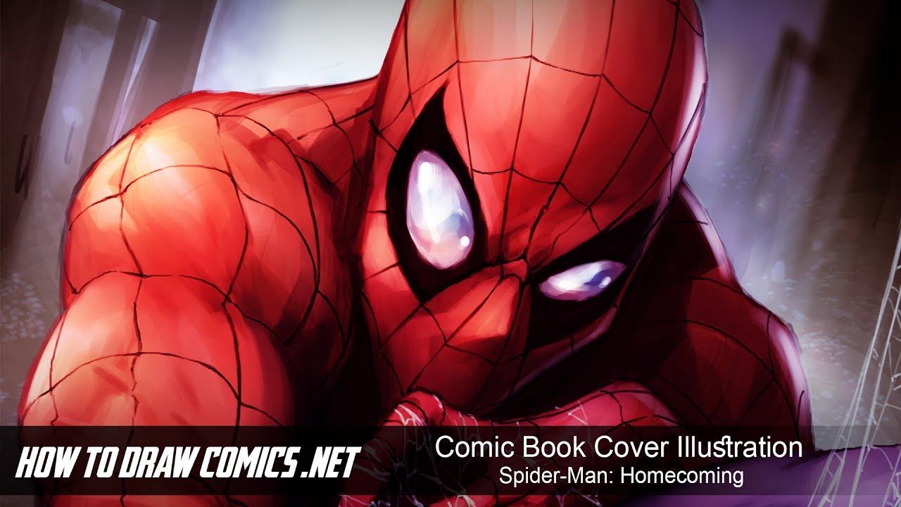 Comic Book Cover Tutorial Illustrator : Comic book cover illustration spider man homecoming