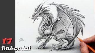 Как нарисовать дракона карандашом поэтапно. Мастер класс с объяснением.
