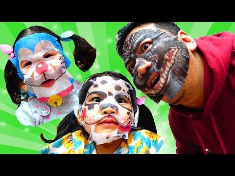 ●普段遊び●再アップ  フェイスマスクで遊びました♡ドラえもん、ゴジラ、ちびまる子ちゃん、ドラゴンボール☆まーちゃん【5歳】おーちゃん【3歳】#471