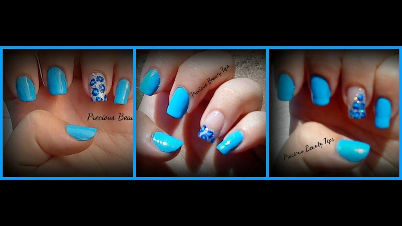 3 easy blue leopard nail art designs tutorial - youtube
