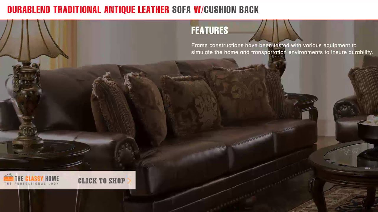 Delightful Ashley DuraBlend Traditional Antique Leather Sofa With Cushion Back