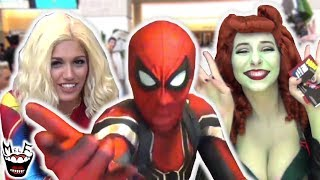 Hilarious Spider-Man Flash Mob Invades Comic Con! Spider-Verse, Avengers, DC Bombshells! - MELF