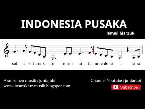nada lagu indonesia pusaka - not balok nada pianika - doremi solmisasi