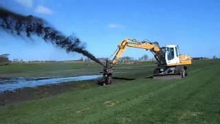 Применение землесоса PD3000 на базе колесного экскаватора