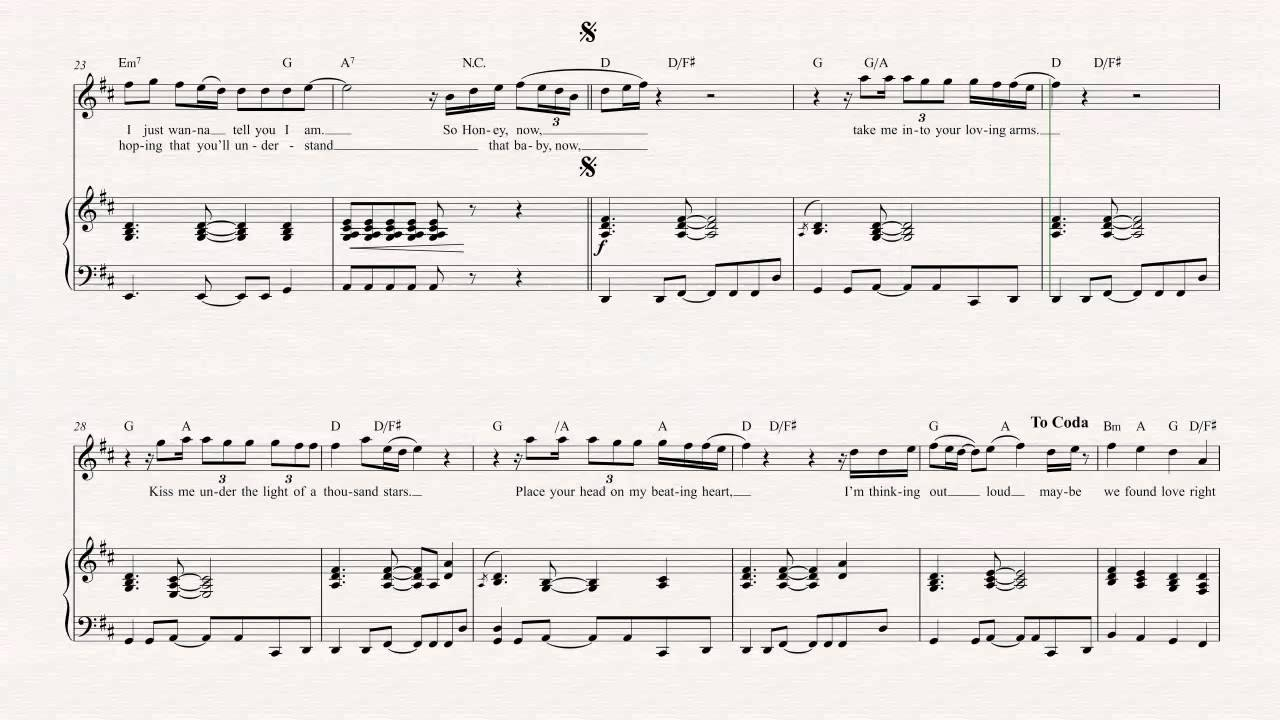 Violin Thinking Out Loud Ed Sheeran Sheet Music Chords Vocals