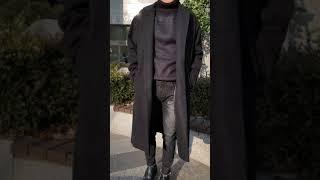 남성 오버핏 캐시미어 싱글 롱코트 - 블랙