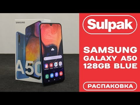 Смартфон Samsung Galaxy A50 128GB Blue распаковка (www.sulpak.kz)