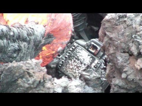 Photographer Drops Camera Into Bubbling Lava
