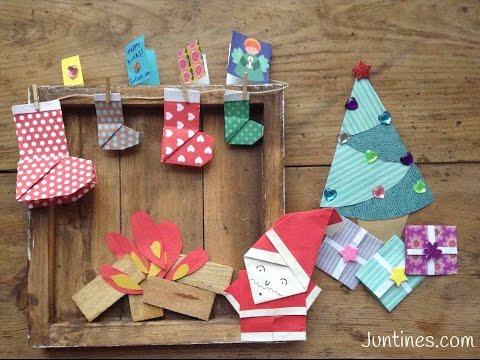 Papa noel de origami f cil para ni os adornos navide os for Adornos navidenos origami paso a paso