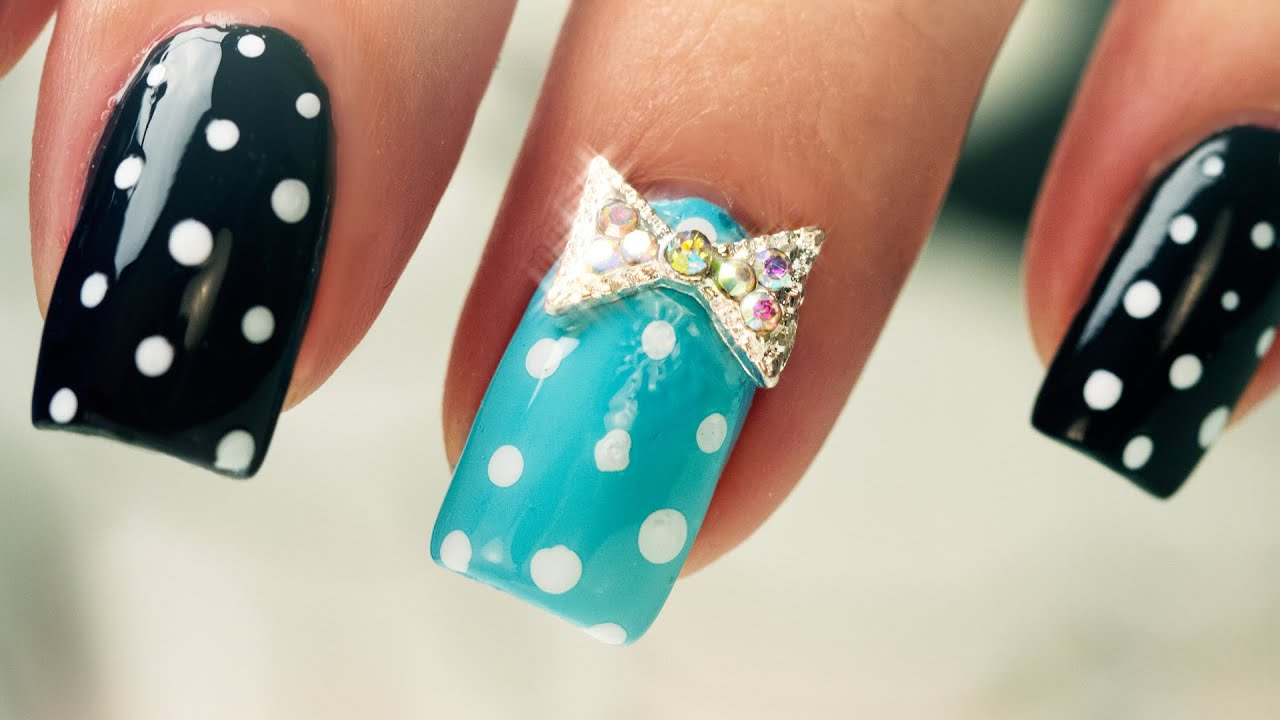 Dots and Bows on Short Nails - Nail Art - YouTube