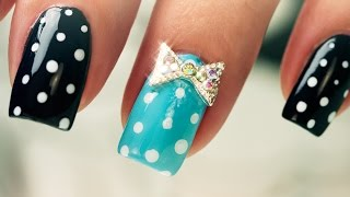 Dots and Bows on Short Nails - Nail Art