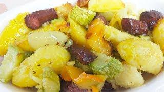 Вкуснейшие Запеченные Овощи с Колбасками.Можно Быстро Накормить Семью !